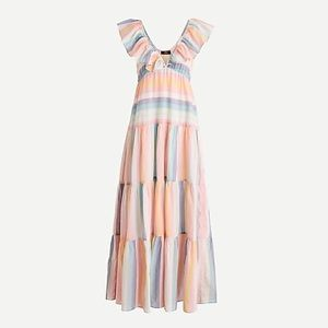 V-neck ruffle beach cover-up in sunset stripe